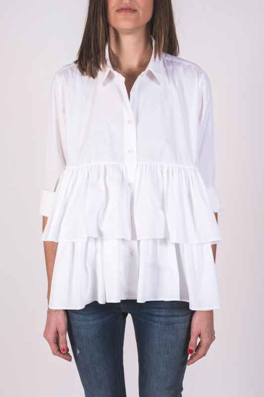 White Shirt with Double Frill