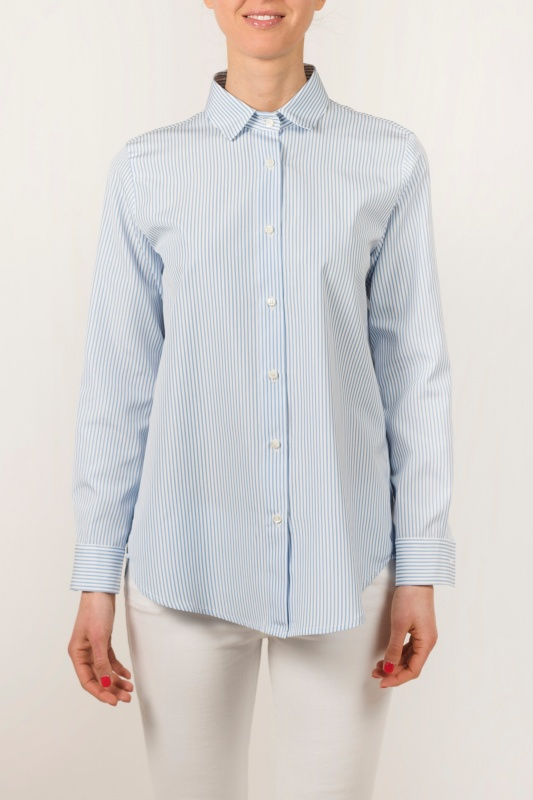 Maxi Soleil Shirt with Light-Blue Stripes