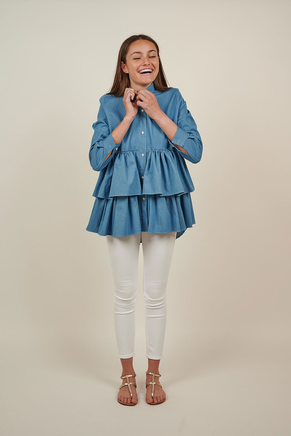 Chambray Shirt with Double Frill