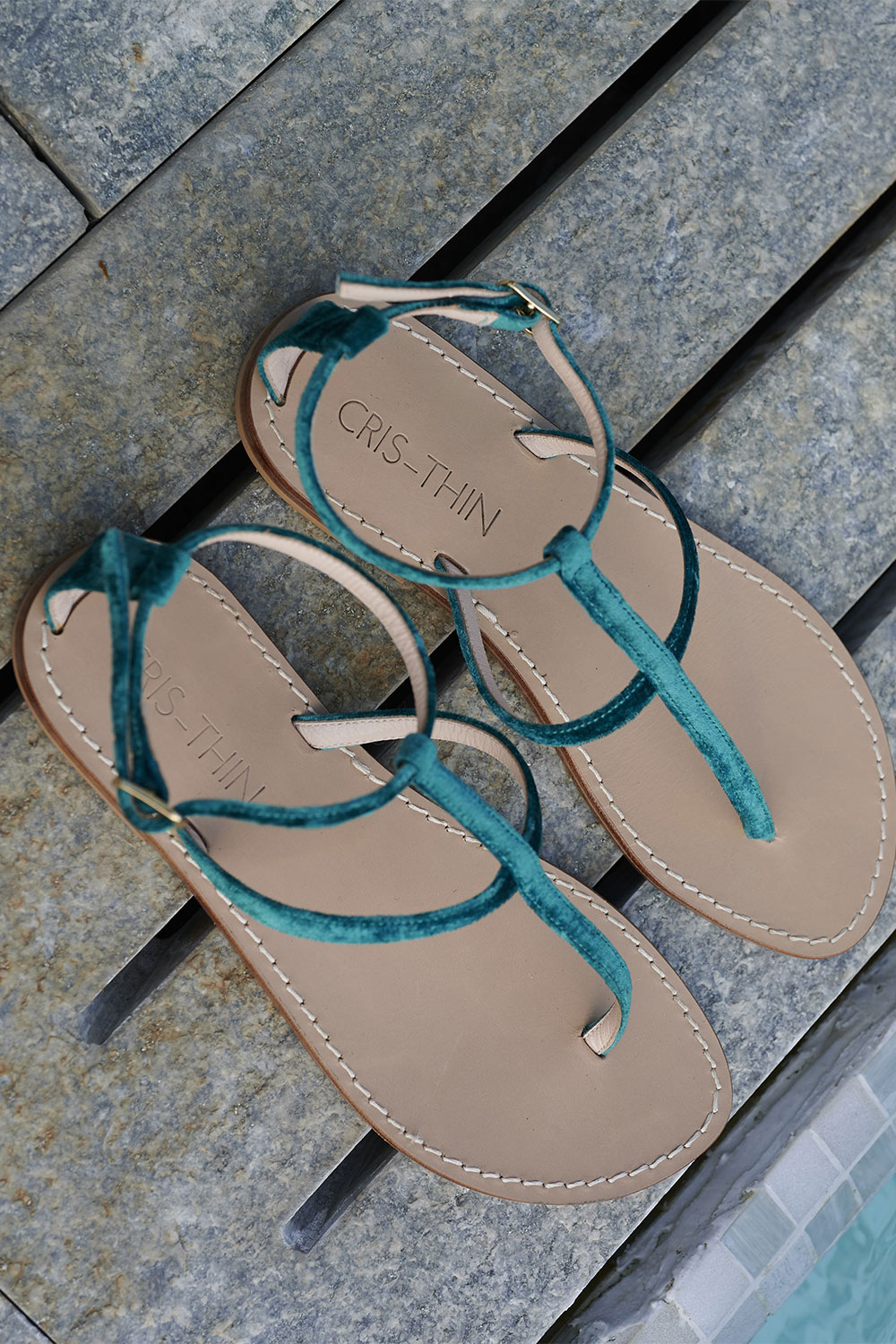 Petrol Green Capri Sandals