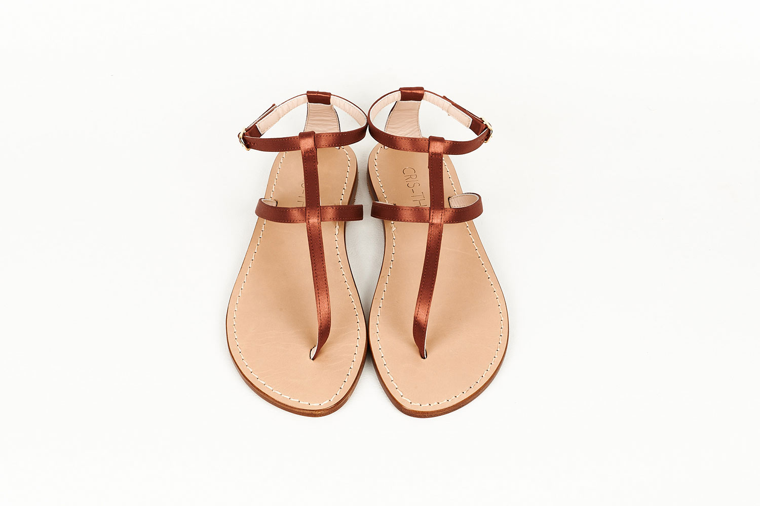 Bronze Satin Capri Sandals