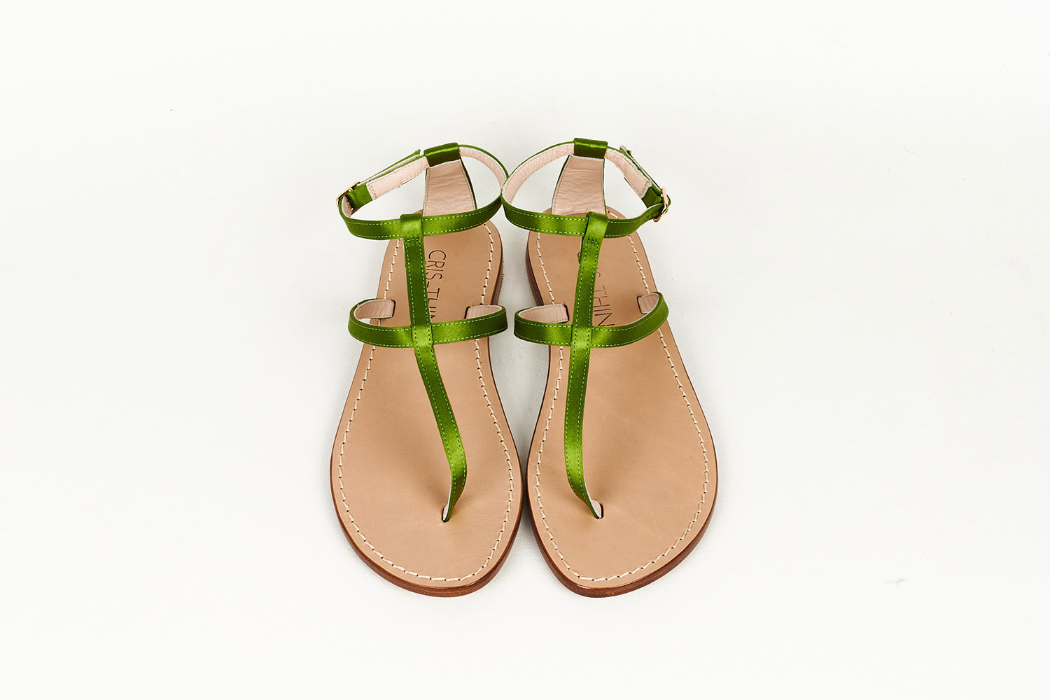 Green Satin Capri Sandals